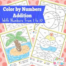 summer color by number addition worksheets itsy bitsy fun