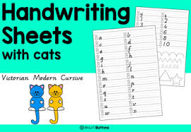 handwriting sheets handwriting worksheets with cats by bright buttons tpt