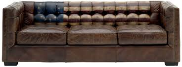 Tufted Brown Leather Sofa Furniture Cool Brown Tufted Leather Sofa With American Flag Back