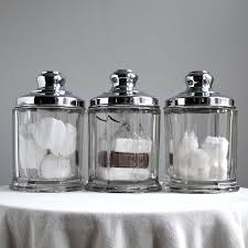 three vintage glass and chrome storage canisters kitchen bathroom