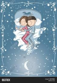 Cuddle In Bed Cute Cartoon Couple Cuddles Bed Vector U0026 Photo Bigstock