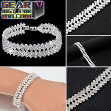 silver bracelet with crystal images Elegant silver plated women 39 s crystal chic geometric charming png