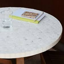Tile Bistro Table Mosaic Outdoor Bistro Table White Marble West Elm