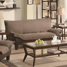 brown microfiber sofa bed coaster fine furniture tan dark brown microfiber sofa bed ebay