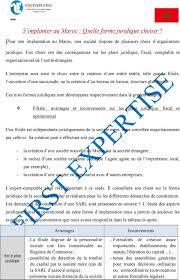 bureau registre des entreprises pour implantation au maroc une société dispose de plusieurs