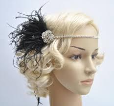 feather headband rhinestone headband headpiece 1920s flapper gatsby