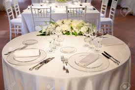 tables decorated for a party or wedding reception stock photo