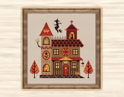 buy 2 get 1 free witch house cross stitch pattern scary home