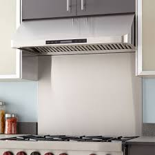 stainless steel range hood backsplash kitchen