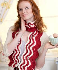 Knitting Pattern Bacon Scarf | makin bacon scarf red heart