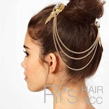 hair accessories for women retail vintage bohemian gold leaf chain brand chain hair clip