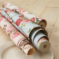 jbh0414 three rolls of floral patterned wallpaper on narratives