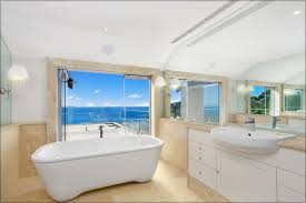modern style beach inspired bathroom design with large wall mirror