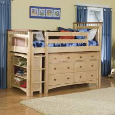 bedroom wood mini loft bunk bed with storage unit dresser and