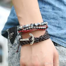 anchor bracelet women images Travel jewelry multilayer hope anchor bracelet men leather bead jpg