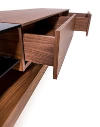 sleek and space saving liam mid century tv stand walnut