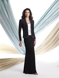 two piece suit white black satin mother of the bride evening dress