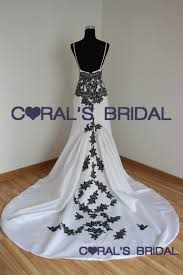 black and white wedding dresses wd09485 f backless black white wedding dress coral s bridal