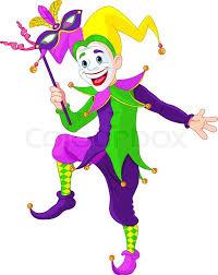 mardi gras joker clip illustration of a mardi gras jester holding a