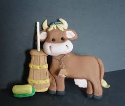 dairy cow christmas ornament bell farm butter churn polymer