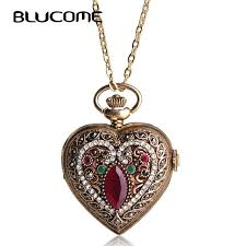 aliexpress vintage necklace images Blucome love heart red pocket watches for women sweater vintage jpg