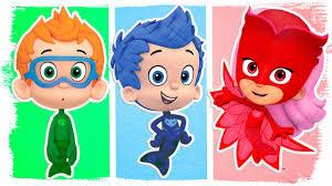 pj masks bubble guppies fun coloring videos kids