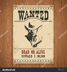 wanted poster on wood wall texturewestern stock vector 398234911