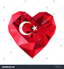 Flag Com Vector Jewelry Turkish Heart Flag Republic Stock Vektorgrafik