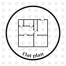 thin circle design icon of apartment plan vector image 117336