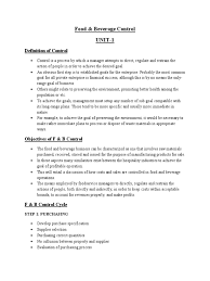 food u0026 beverage control notes profit accounting budget