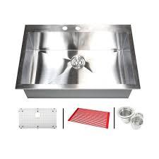 Single Bowl Kitchen Sink Top Mount Stainless Steel 33 Inch Single Bowl Topmount Drop In Zero Radius