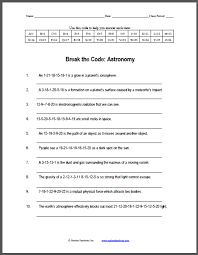 astronomy break the code puzzle worksheet student handouts