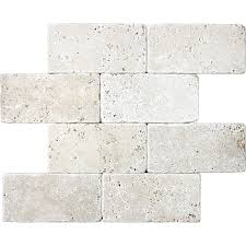shop 8 pack chiaro tumbled marble natural stone wall tile common