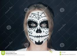 Skeleton Makeup For Halloween by Smiling Woman With Sugar Skull Makeup Stock Photo Image 44754692