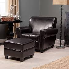 Small Leather Armchair Bedroom Contemporary Black Leather Upholstered Lounge Chair Sets