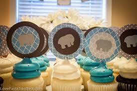 blue and gray baby boy shower love pasta and a tool belt