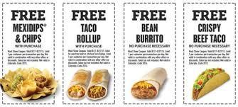 food coupons taco bueno free food coupons