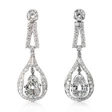drop earring pair of diamond drop earrings set in platinum with two pear