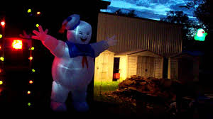 ghostbusters halloween decoration display nighttime with slimer