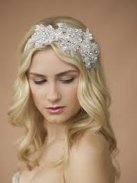 bridal headband sculptured lace wedding headband with crystals mariell