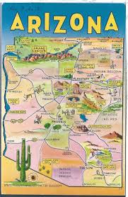 Bisbee Arizona Map by Vintage Postcard Map Card Arizona Highways Sites Chrome Mirro