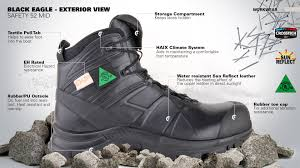 Firefighter Safety Boots by Haix Black Eagle Safety 52 Mid Light Work Boot