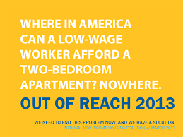 which state has the lowest cost of living out of reach 2013 national low income housing coalition