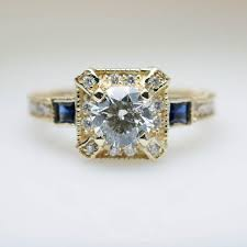 intricate art deco style 1 16ctw diamond engagement ring in 14k