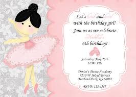 A Birthday Invitation Card Ballerina Birthday Invitations Kawaiitheo Com
