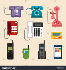 history of telephone history phone design vector illustration flat stock vector