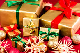 christmas gift bows six golden presents with bows stock image image of