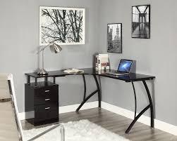 corner white computer desk l shaped corner computer desk office home pc table in black or