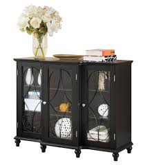 black or cherry wood sideboard buffet console table with glass
