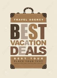 poster for travel with the inscription best vacation deals and